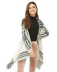 Forever 21 - Fuzzy Plaid Drape-front Cardigan - Lyst a72a64194