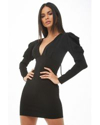 Forever 21 - Puff-sleeve Bodycon Dress - Lyst