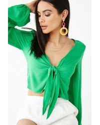 a1e9fc15570 Forever 21 Satin Smocked-sleeve Crop Top - Lyst