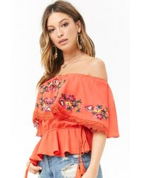Forever 21 - Embroidered Flounce Top - Lyst