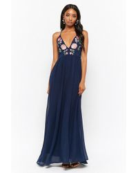 Forever 21 - Sheer Floral Embroidered Plunging Chiffon Maxi Dress - Lyst