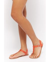 Forever 21 - Faux Leather Flat Sandals - Lyst