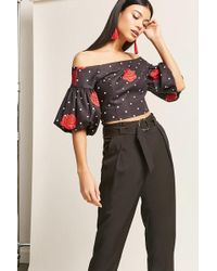 Forever 21 - Polka Dot Rose Top & Belted Trousers Set - Lyst