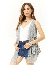Forever 21 Open-knit Combo Vest , Light Blue