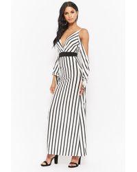 7d7c1205161 Forever 21 - Women s Striped Open-shoulder Maxi Dress - Lyst