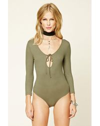 Forever 21 - Self-tie Front Bodysuit - Lyst