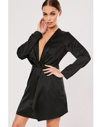 Missguided Twist-front Satin Dress At , Black