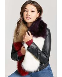 Forever 21 - Faux Fur Colorblock Scarf - Lyst