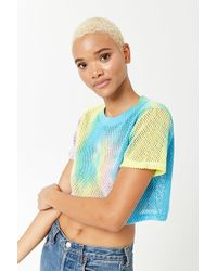 Forever 21 - Cropped Tie-dye Mesh Tee - Lyst
