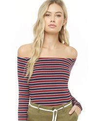 b1882f6cb69 Forever 21 - Striped Off-the-shoulder Top - Lyst