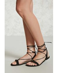 Forever 21 - Faux Suede Lace-up Sandals - Lyst