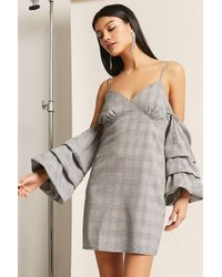 Forever 21 - Women's Glen Check Open-shoulder Dress - Lyst