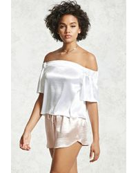 a285797804dc19 Forever 21 - Satin Off-the-shoulder Top - Lyst