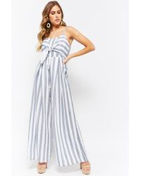 Forever 21 - Striped Palazzo Jumpsuit - Lyst