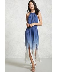 Forever 21 Ombre Dye Maxi Dress in Blue | Lyst