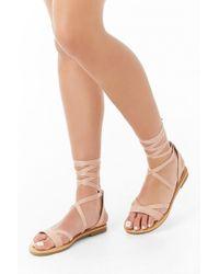 6055e531f5 Forever 21 Women's Leopard Print Strappy Self-tie Sandals in Brown ...