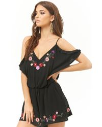 d9d0b0267494 Forever 21 - London Rose Floral Embroidered Open-shoulder Romper - Lyst