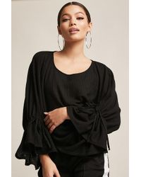 Forever 21 - Waffle-knit Bell-sleeve Top - Lyst