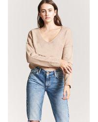 Forever 21 - V-neck Crop Jumper Sweater - Lyst