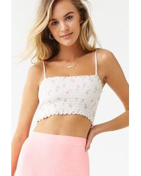 87f2c91dd6c Forever 21 Floral Zip-front Bustier Crop Top in Pink - Lyst