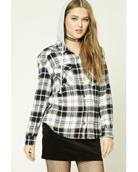 Forever 21 - Hooded Check Flannel Shirt - Lyst