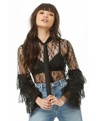 Forever 21 - Sheer Tie-neck Lace Shirt , Black - Lyst