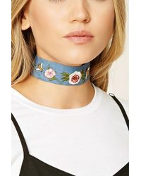 Forever 21 - Women's Floral Embroidered Choker Necklace - Lyst