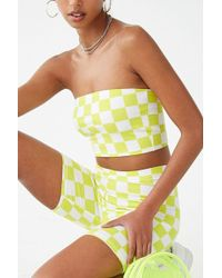 2a44f57484 Lyst - Forever 21 Checkered Print Cropped Cami in Red