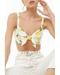 Forever 21 - Lemon Print Tie-front Crop Top , White/yellow - Lyst