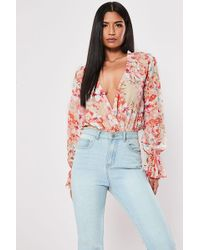 Missguided Plunging Floral Bodysuit At , Pink/multi