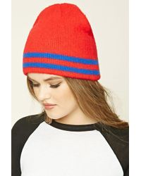 Forever 21 - Striped Ribbed Knit Beanie Hat - Lyst
