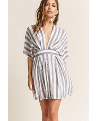 FOREVER21 - Plunging Stripe Dress - Lyst