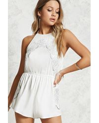 49a8f63cf6e Forever 21 Lovecat Floral Lace Romper in White - Lyst