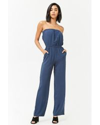 c24d7916548 Forever 21 Satin Striped Strapless Jumpsuit in Blue - Lyst