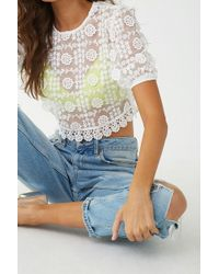 Forever 21 - Sheer Embroidered Lace Crop Top - Lyst