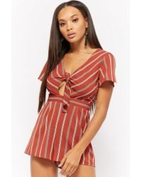 Forever 21 - Striped Tie-front Cutout Romper - Lyst
