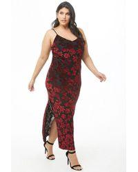 cf8a81d2699 Forever 21 - Women s Plus Size Floral Velvet Maxi Dress - Lyst