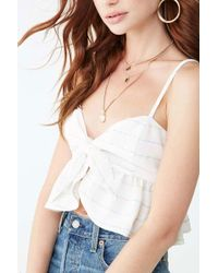 Forever 21 - Striped Tie-front Crop Top , Ivory/multi - Lyst