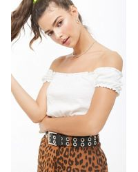 7e3dfad935b730 Lyst - Forever 21 Colorblock Smocked Off-the-shoulder Crop Top in Blue