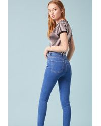 b8e82df675c6 Lyst - Forever 21 High-rise Destroyed Mom Jeans in Blue