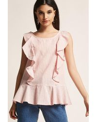 Forever 21 - Pinstripe Ruffle Top - Lyst