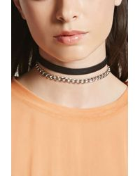 Forever 21 - Chain Faux Leather Choker Set - Lyst