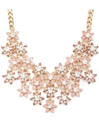 Forever 21 - Faux Gem Flower Bib Necklace - Lyst