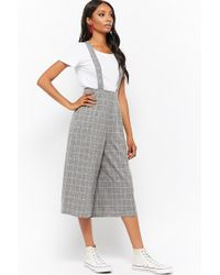 Forever 21 - Marled Grid Print Suspender Pants - Lyst