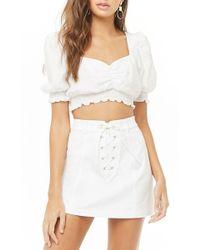 cc19187bdf Forever 21 - Lace-up Mini Skirt , White - Lyst