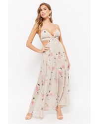 Forever 21 - Floral Cutout Maxi Dress - Lyst