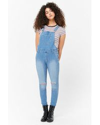 Forever 21 - Distressed Denim Dungarees - Lyst