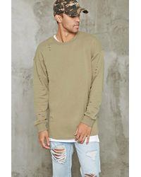 Forever 21 - Langes Sweatshirt mit Distressed-Details - Lyst
