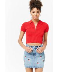 Forever 21 - Cherry Embroidered Denim Skirt - Lyst