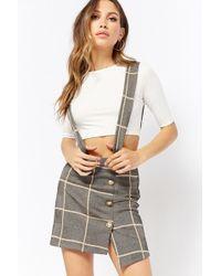 Forever 21 - Women's Ribbed Top & Check Suspender Skirt Set - Lyst